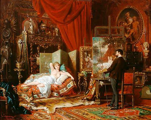 der maler mit seinem modell im atelier gem lde von carl schweninger d j als kunstkopie. Black Bedroom Furniture Sets. Home Design Ideas