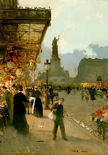 Luigi Loir - Blumenmarkt am Place de la République in Paris