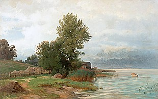 Paul (Gottlieb Daniel Paul) Weber - Aufziehendes Gewitter am Chiemsee