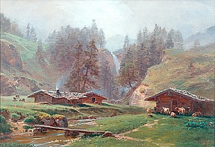 Paul (Gottlieb Daniel Paul) Weber - Sommermorgen am Gehöft im Wiesental