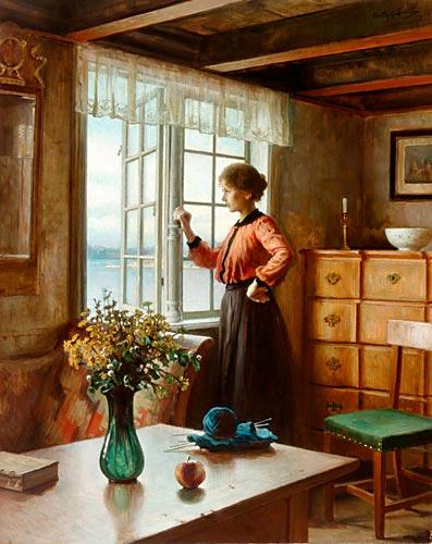 carl frithjof smith k nstler gem lde kunstdruck 39 tr umerei am fenster 39. Black Bedroom Furniture Sets. Home Design Ideas