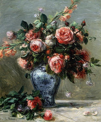 pierre auguste renoir k nstler gem lde kunstdruck 39 vase mit rosen 39. Black Bedroom Furniture Sets. Home Design Ideas