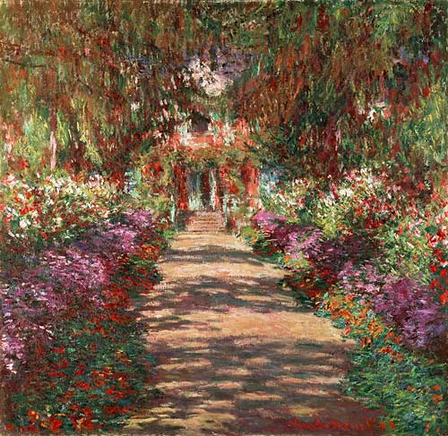 claude monet k nstler gem lde kunstdruck 39 weg in monets garten in giverny 39. Black Bedroom Furniture Sets. Home Design Ideas
